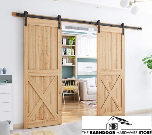 Bi Parting Double Sliding Barn Door Hardware Kit