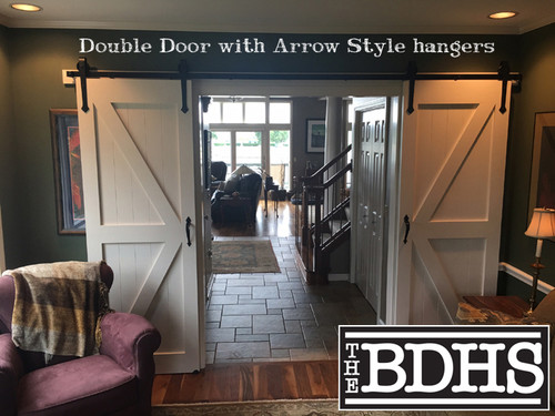 Double Door Bi-Parting Arrow Barn Door Hardware Kit - Installed