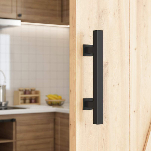 CCJH Steel Sliding Barn Door Pull Handles Gate Handles Frosted Black Arrow Design