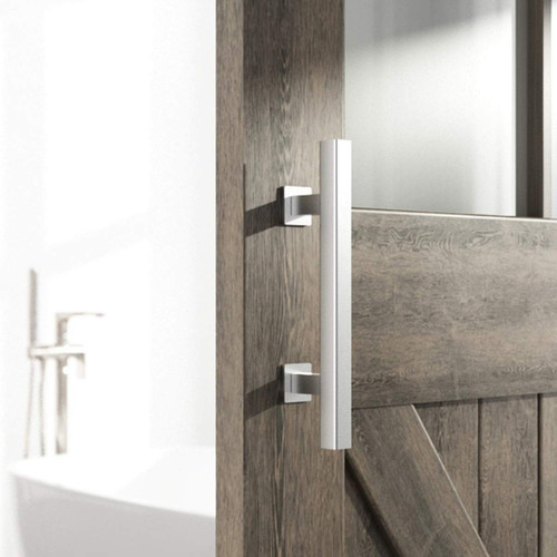 """Stainless Steel 12"""" Square Industrial Heavy Duty Pull and Flush Door Handle Combo Set installed"""
