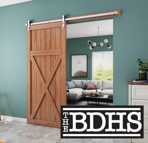 BRUSHED NICKEL STAINLESS STEEL FINISH SLIDING BARN DOOR HARDWARE KIT