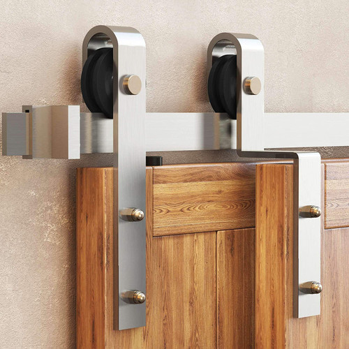 Brushed Nickel Single Track By-pass© Sliding barn Door Hardware Kit - NYLON wheels