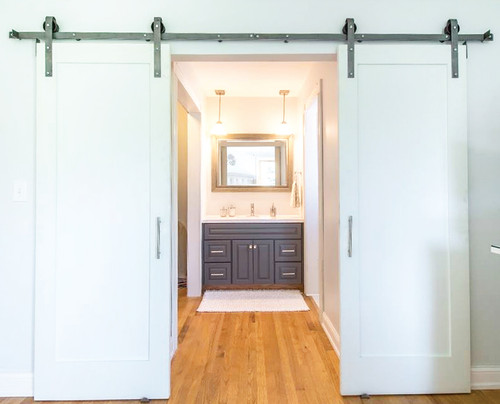 Double Door Sliding Barn Door Hardware Kit For Two Doors
