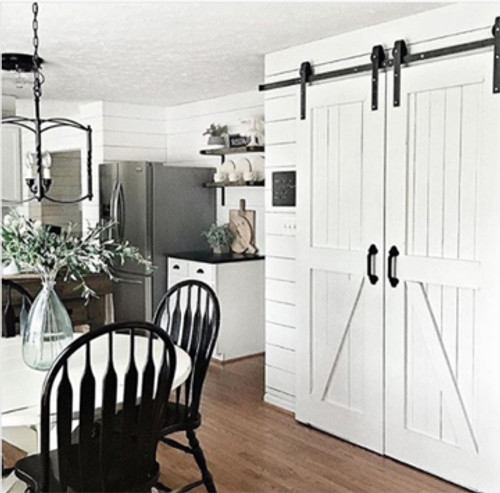 Double Sliding Barn Door Hardware - shown in optional e-coated black finish