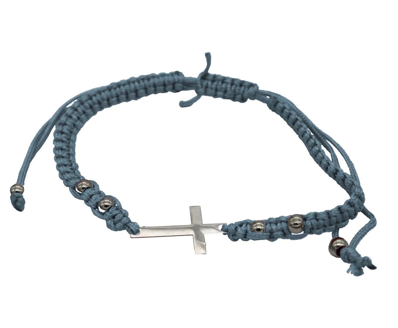 BlUE STRING cross PENDANT Bracelet Messianic Crucifix HOLY LACKY Charm