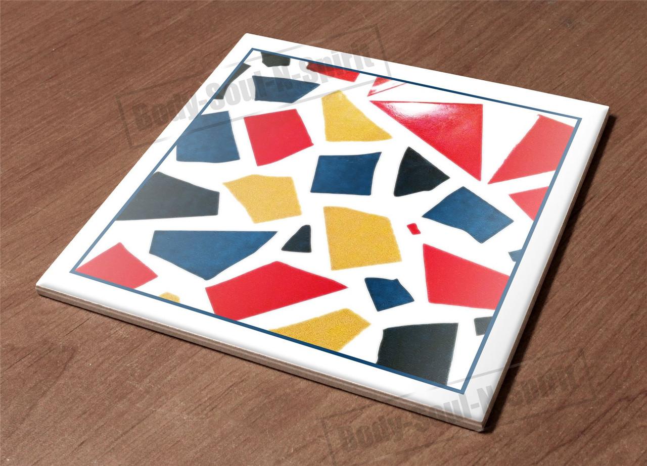 HotPlate Kitchen Trivet Holder Ceramic Tile pieces art d?cor design cloroful