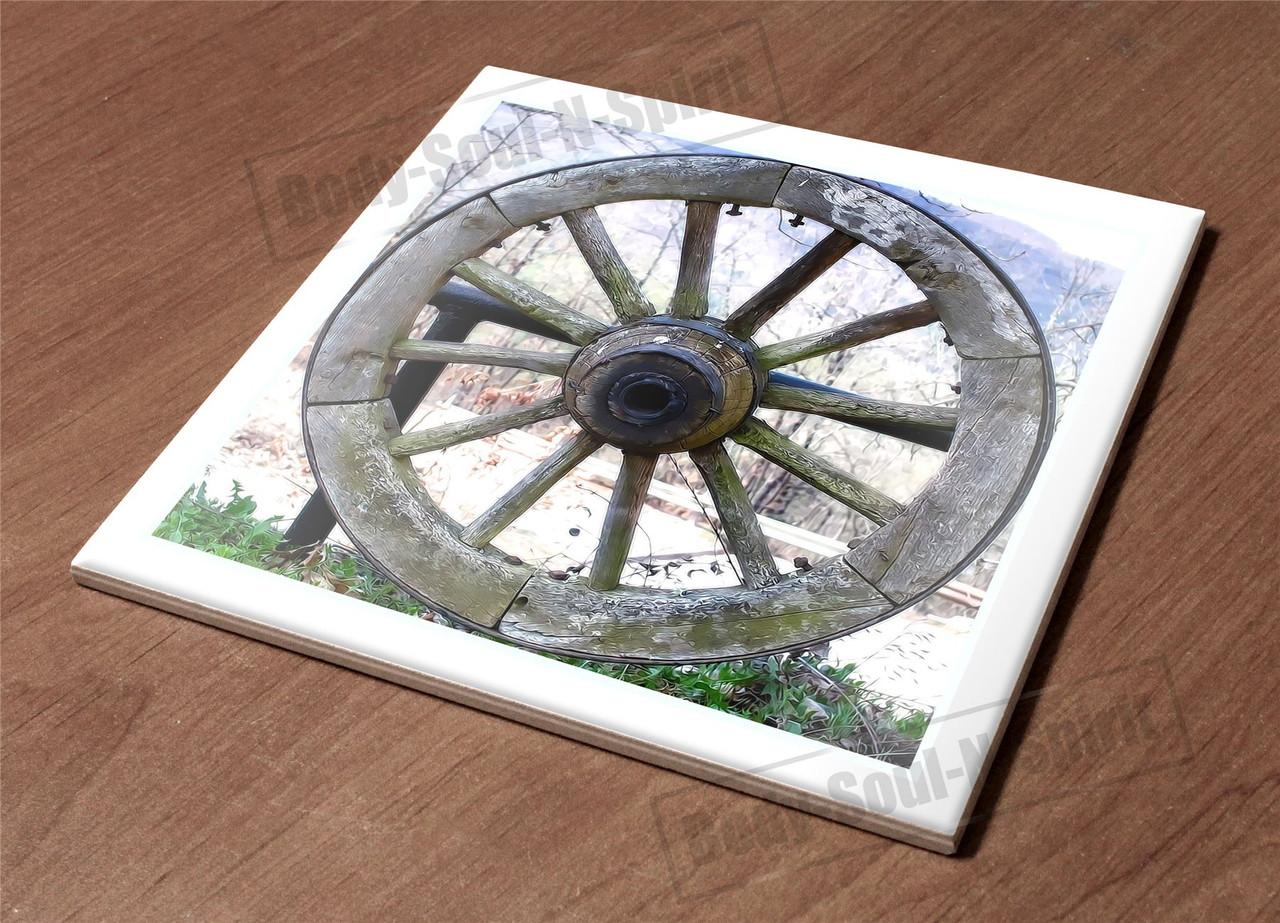 Hotplate Kitchen Trivet Holder Ceramic Tile Wheel Tree Snow Nature View Design