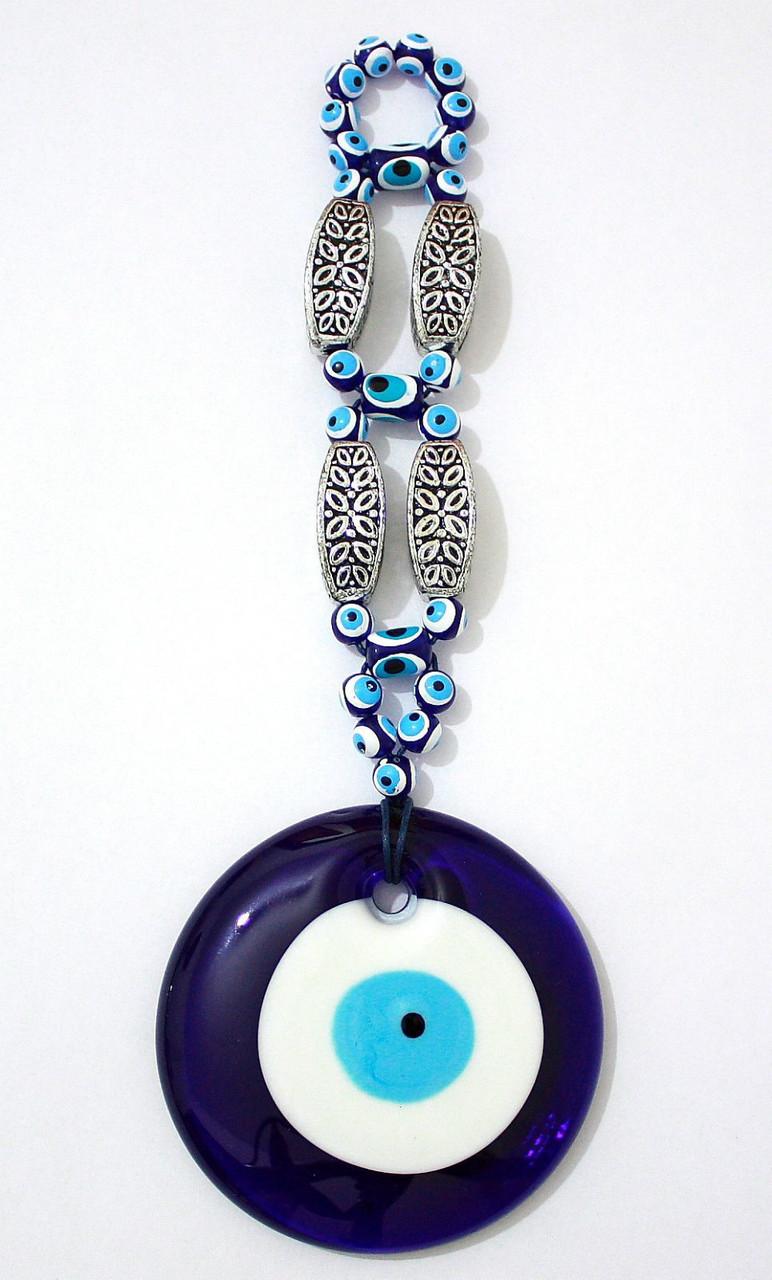 BLUE turkish glass evil eye lucky charm pendant kabbalah jewelry wall  hanging