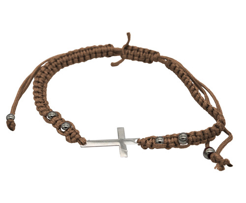 BROWN STRING cross PENDANT Bracelet Messianic Crucifix HOLY LACKY Charm