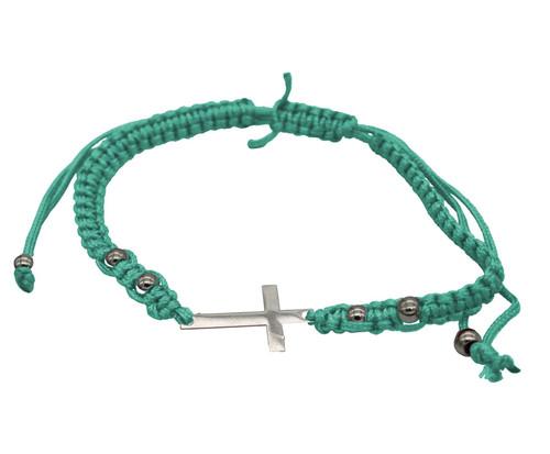 GREEN STRING cross PENDANT Bracelet Messianic Crucifix HOLY LACKY Charm