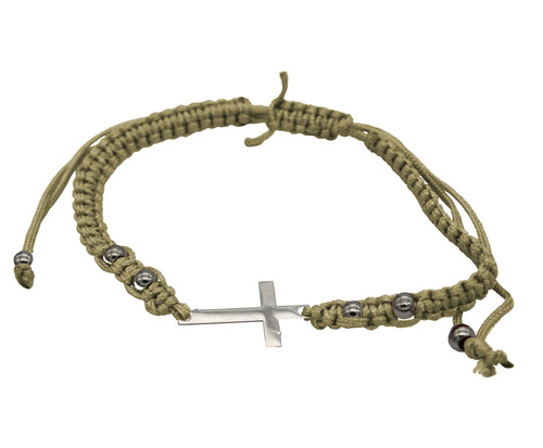 OLIVE STRING cross PENDANT Bracelet Messianic Crucifix HOLY LACKY Charm