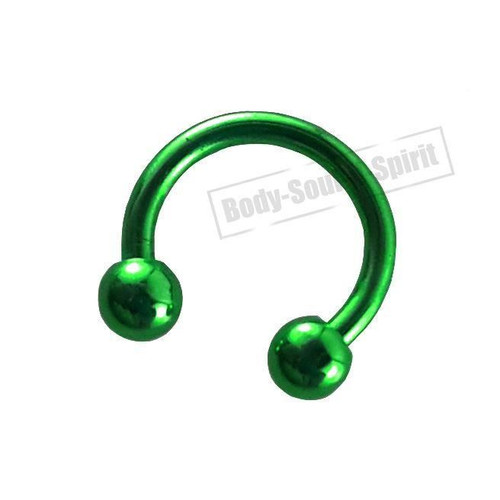 Circular Green Horseshoe 7mm  EAR EYE Lip Barbell round Ring NIPPLE Jewelry