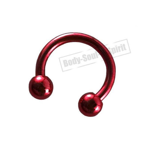 Circular Red Horseshoe 7mm  EAR EYE Lip Barbell round Ring NIPPLE Jewelry