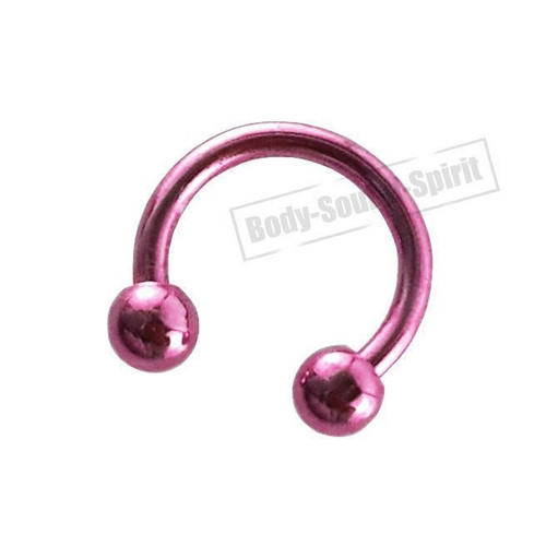 Circular Pink Horseshoe 7mm  EAR EYE Lip Barbell round Ring NIPPLE Jewelry