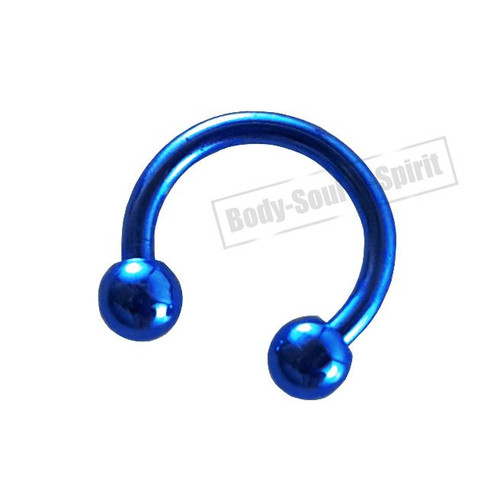 Circular Blue Horseshoe 8mm  EAR EYE Lip Barbell round Ring NIPPLE Jewelry