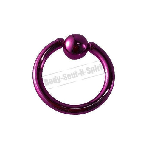 Purple Hoop 8mm BSR Body Piercing Ball Nose Ring Lip Cartilage Ear 316L Steel