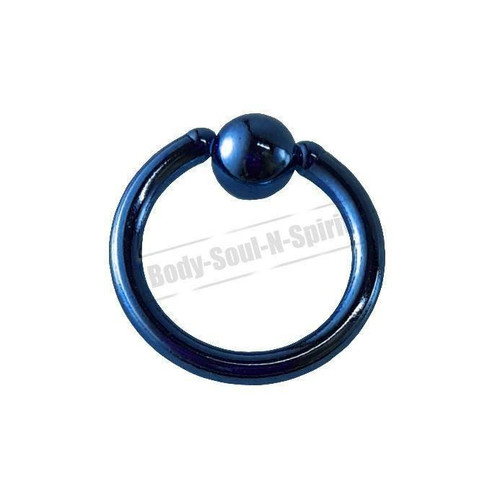 Blue Hoop 8mm BSR Body Piercing Ball Nose Ring Lip Cartilage Ear 316L Steel