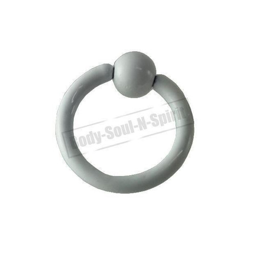 White Hoop 8mm BSR Body Piercing Ball Nose Ring Lip Cartilage Ear 316L Steel