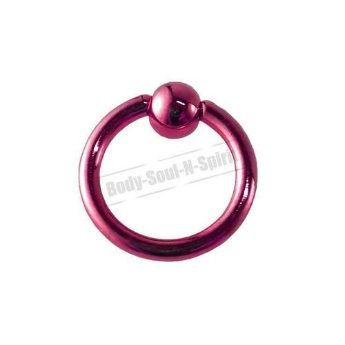 Pink Hoop 8mm BSR Body Piercing Ball Nose Ring Lip Cartilage Ear 316L Steel