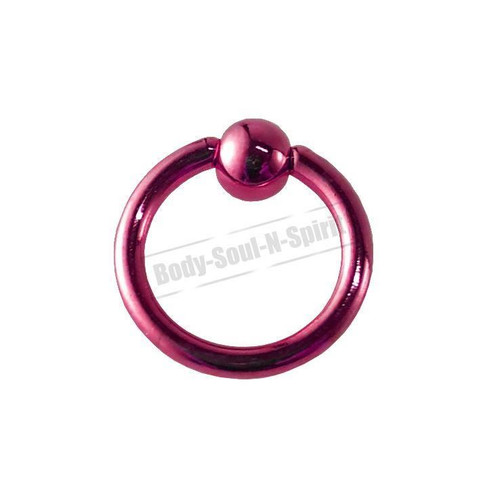 Pink Hoop 7mm BSR Body Piercing Ball Nose Ring Lip Cartilage Ear 316L Steel