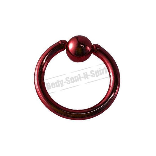 Red Hoop 7mm BSR Body Piercing Ball Nose Ring Lip Cartilage Ear 316L Steel