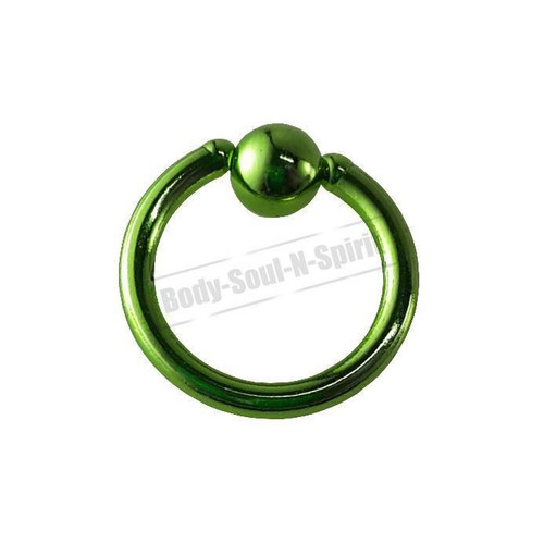 Green Hoop 7mm BSR Body Piercing Ball Nose Ring Lip Cartilage Ear 316L Steel