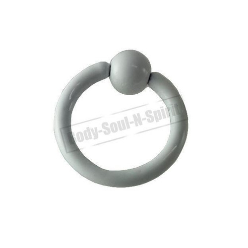White Hoop 7mm BSR Body Piercing Ball Nose Ring Lip Cartilage Ear 316L Steel