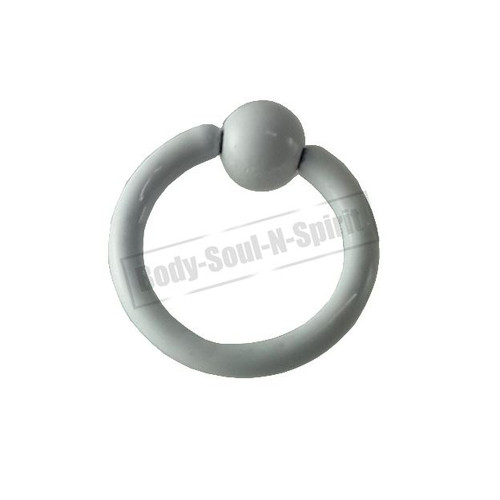 White Hoop 6mm BSR Body Piercing Ball Nose Ring Lip Cartilage Ear 316L Steel