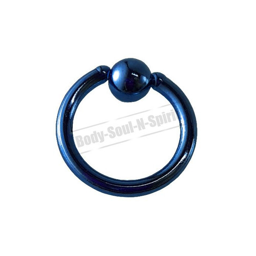 Blue Hoop 6mm BSR Body Piercing Ball Nose Ring Lip Cartilage Ear 316L Steel