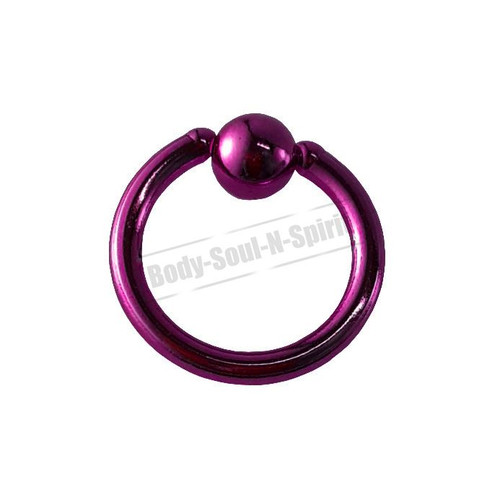 Purple Hoop 6mm BSR Body Piercing Ball Nose Ring Lip Cartilage Ear 316L Steel