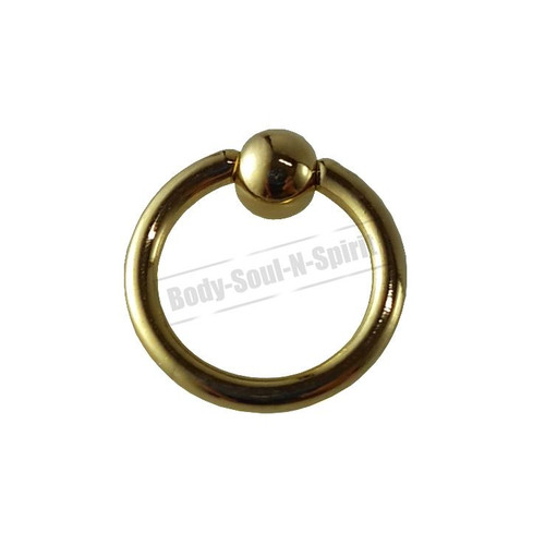 Gold Hoop 6mm BSR Body Piercing Ball Nose Ring Lip Cartilage Ear 316L Steel