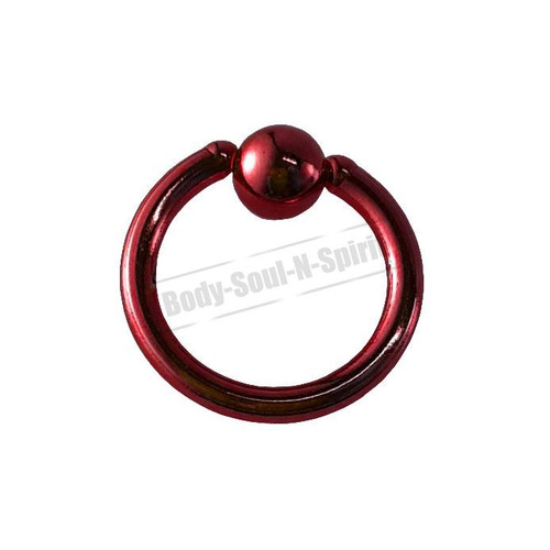 Red Hoop 6mm BSR Body Piercing Ball Nose Ring Lip Cartilage Ear 316L Steel