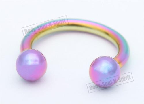 Lip round Barbell Circular Rainbow color Horseshoe EAR EYE Ring NIPPLE Omega