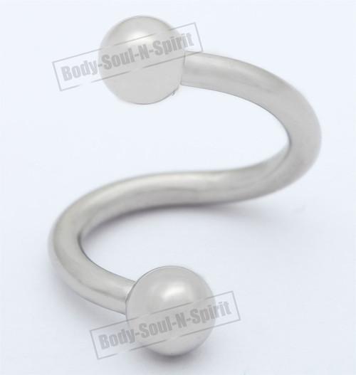Spiral Ring silver 30mm EAR EYE Barbell round NIPPLE body Jewelry