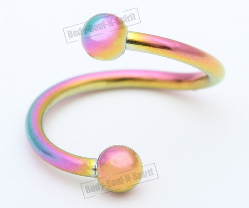 Spiral Ring Rainbow 30mm EAR EYE Barbell round NIPPLE body Jewelry