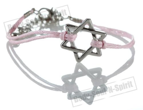 1 Pink Star Magen David Bracelets STRING Kabbalah Judaica Charm Israel Jewelry