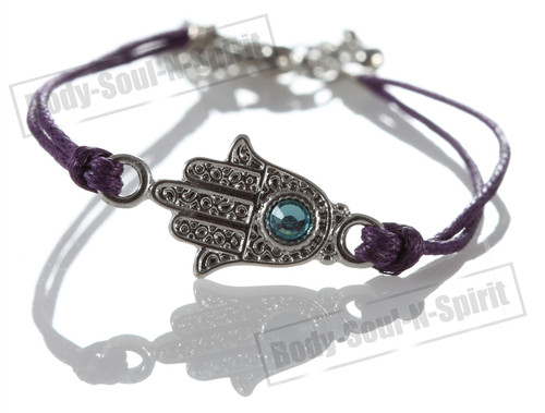 1 Purple Hamsa Evil Eye Bracelets STRING Kabbalah Inspired Protection Lucky gift