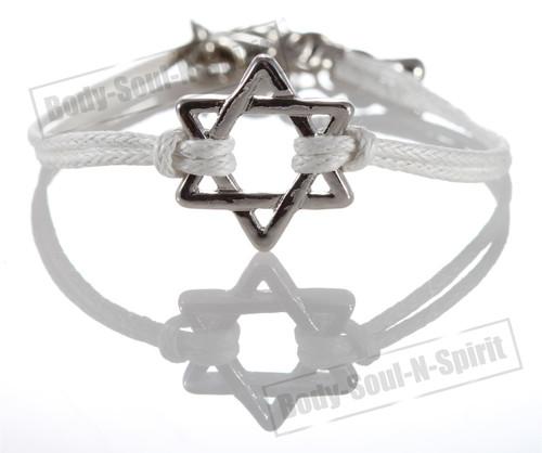 1 White Star Magen David Bracelets STRING Kabbalah Judaica Charm Israel Jewelry