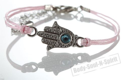 1 Pink Hamsa Evil Eye Bracelets STRING Kabbalah Inspired Protection Lucky gift