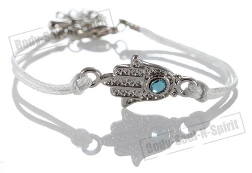 1 White Hamsa Evil Eye Bracelets STRING Kabbalah Inspired Protection Lucky gift