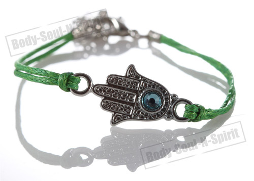 1 Green Hamsa Evil Eye Bracelets STRING Kabbalah Inspired Protection Lucky gift
