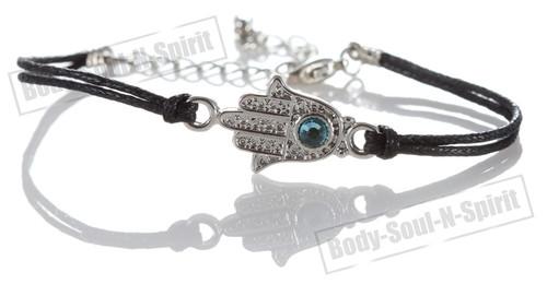 1 Black Fatima Hand Hamsa Evil Eye Bracelets STRING Kabbalah Fashion Lucky karma