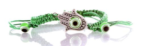 1 Sacred Hamsa Hand Green String Revolving Lucky Evil Eye Spiritual Bracelets