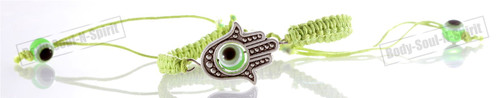 lot 1 LARGE Hamsa Evil Eye Lime STRING Kabbalah Bracelets Lucky Charm Jewelry
