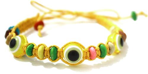 1 Evil Eye Yellow String Ethnic Bracelets Lucky Eye Charm Bead success Bracelet