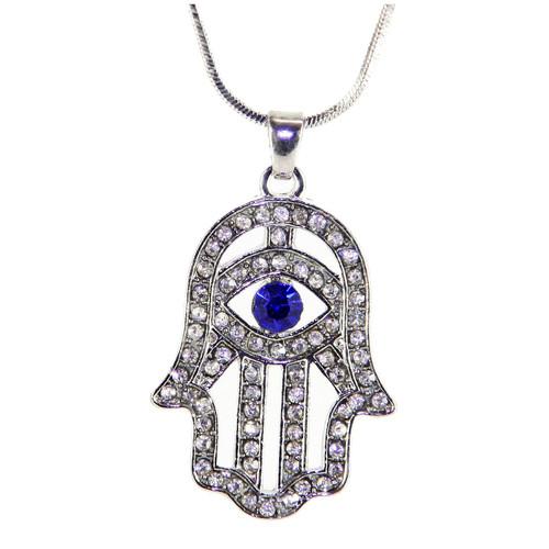 Hamsa Necklace Hand of God Blue Evil Eye Charm Pendant Jewish Judaica Kabbalah