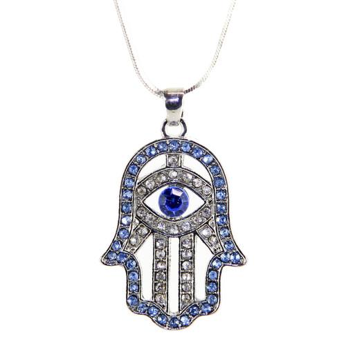Hamsa Necklace Hand of God Sky Evil Eye Charm Pendant Jewish Judaica Kabbalah