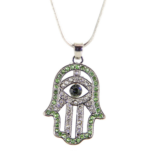 Hamsa Necklace Hand of God Green Evil Eye Charm Pendant Jewish Judaica Kabbalah