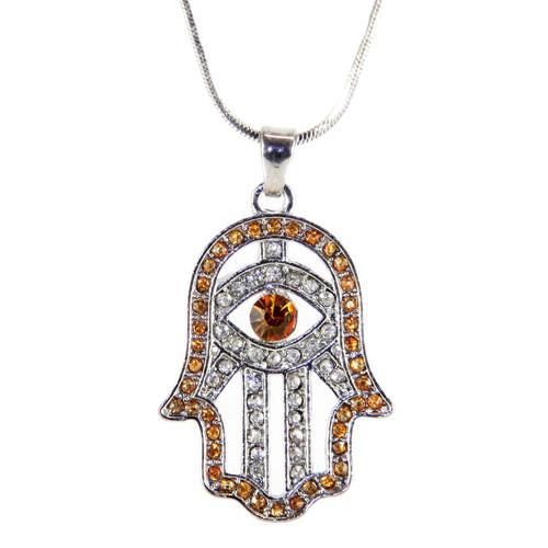 Hamsa Necklace Hand of God Orange Evil Eye Charm Pendant Jewish Judaica Kabbalah