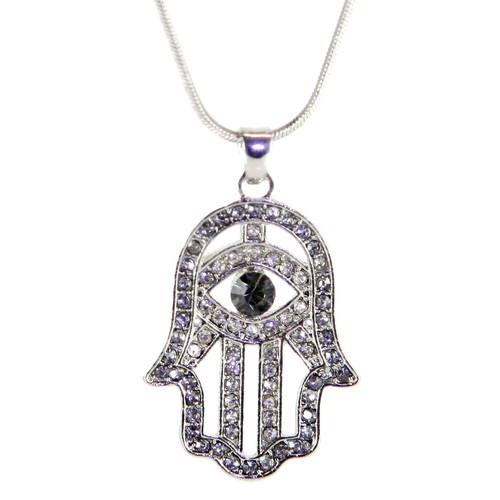 Hamsa Necklace Hand of God Black Evil Eye Charm Pendant Jewish Judaica Kabbalah